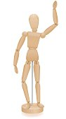 Artist manikin - waving lay figure - three-dimensional mannequin with realistic wood grain. Isolated vector illustration over white background.