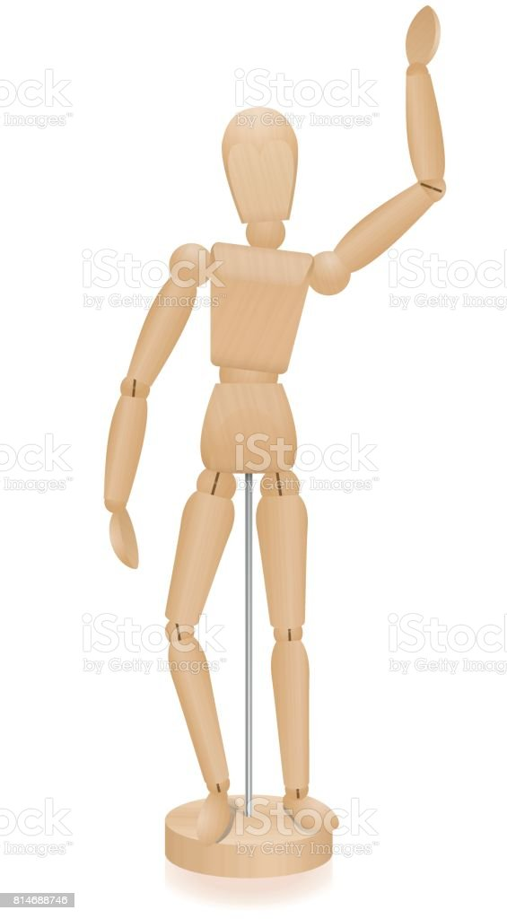 Artist manikin - waving lay figure - three-dimensional mannequin with realistic wood grain. Isolated vector illustration over white background. vector art illustration