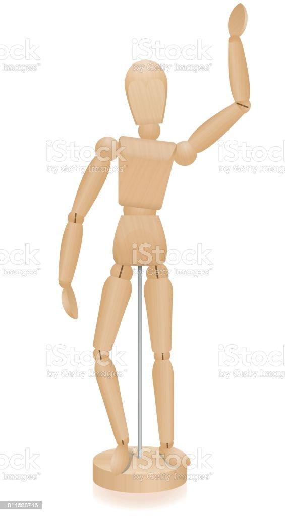 Manequim de artista - acenando colocar figura - manequim tridimensional com grão de madeira realista. Isolado de ilustração vetorial sobre fundo branco. - ilustração de arte em vetor