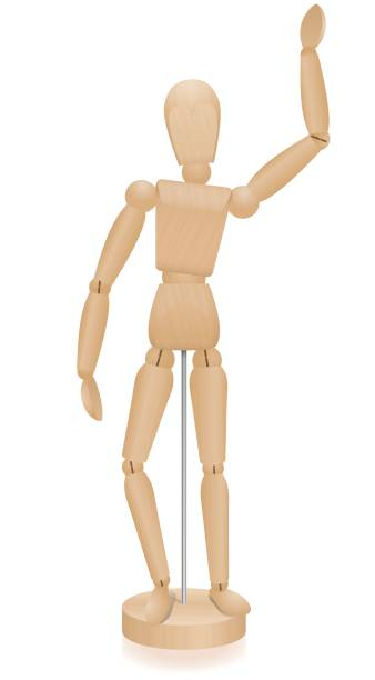 artist manikin - waving lay figure - three-dimensional mannequin with realistic wood grain. isolated vector illustration over white background. - marionetka stock illustrations