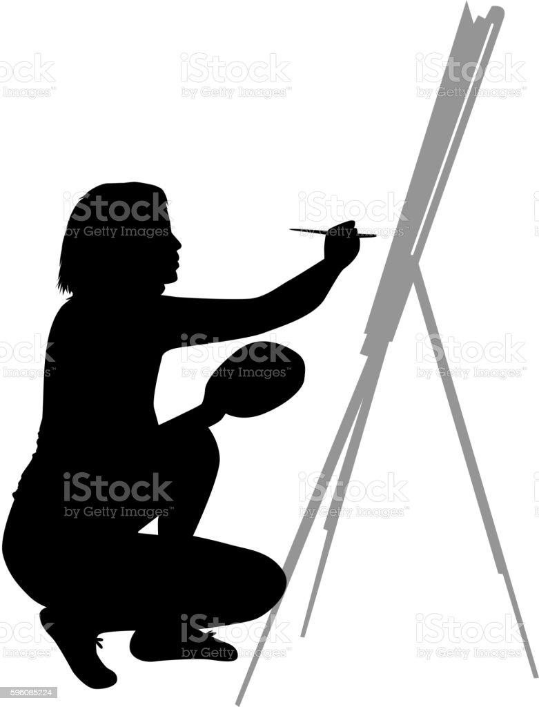 Artist painted the picture on an easel. royalty-free artist painted the picture on an easel stock vector art & more images of activity