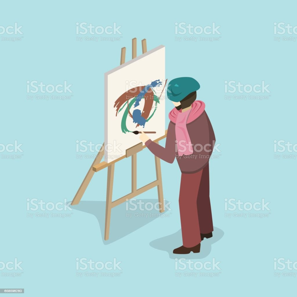 Artist painter at work easel flat 3d web isometric infographic concept vector template. vector art illustration