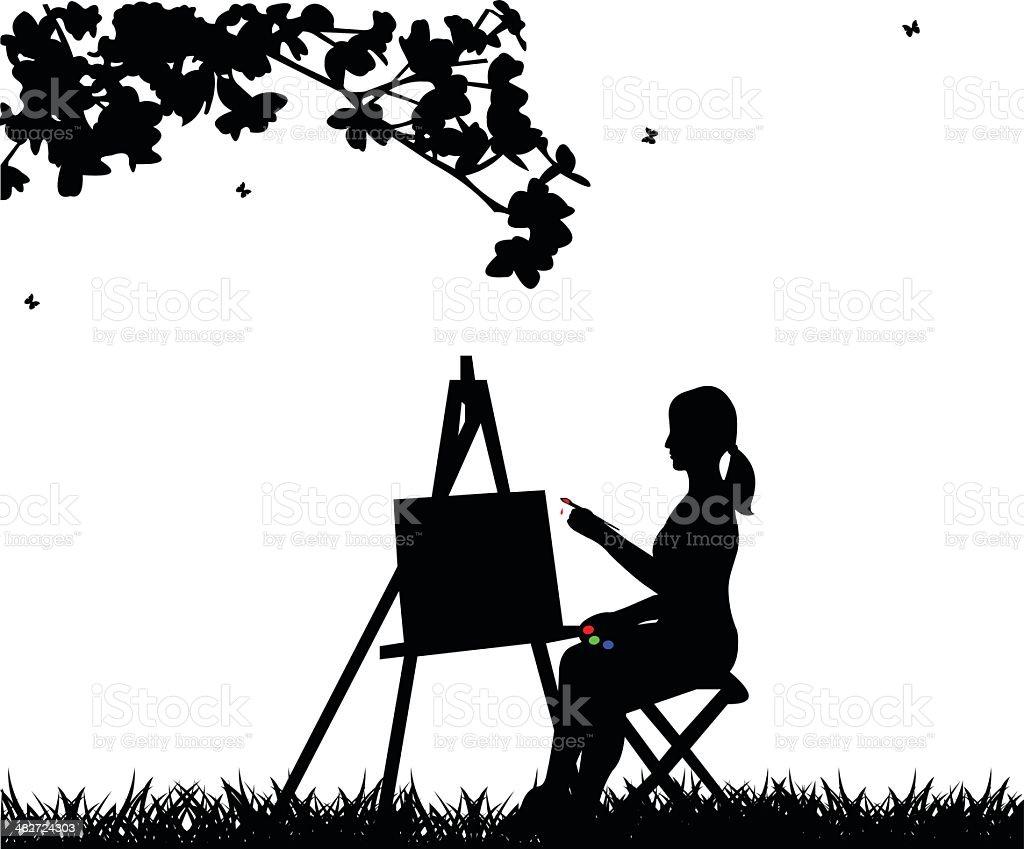 Artiste peintre peinture silhouette de femme dans le parc - Illustration vectorielle
