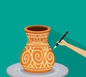 Artist painting ancient tribal pottery, vector