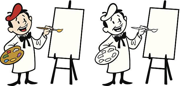 Artist Painting On Canvas vector art illustration