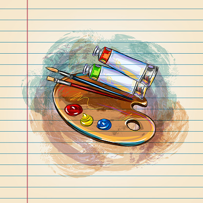 Artist palette and Paint tubes Drawing on Ruled Paper
