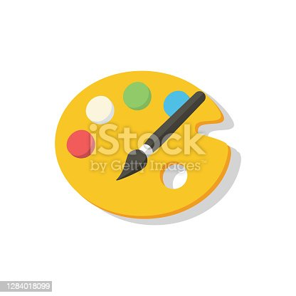 istock Artist palette icon with colored paints on white background with shadow. School palette for painting. Back to school. School theme. September 1. Vector EPS10 1284018099