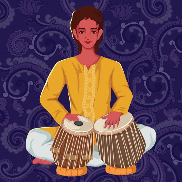 Artist playing Tabla folk music of India Vector design of artist playing Tabla folk music of India on floral background tavla stock illustrations