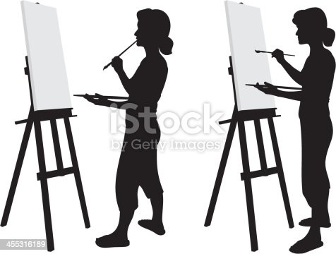 Painter working at her easel