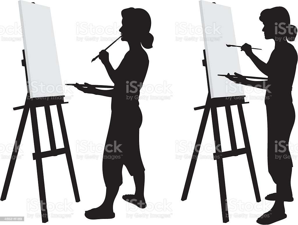 Artist Silhouette vector art illustration