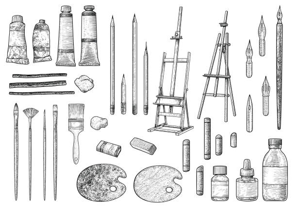 Artist tool collection illustration, drawing, engraving, ink, line art, vector Illustration, what made by ink, then it was digitalized. etching stock illustrations
