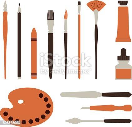 istock Artist tools, palette, paints and brush - Illustration 698878550