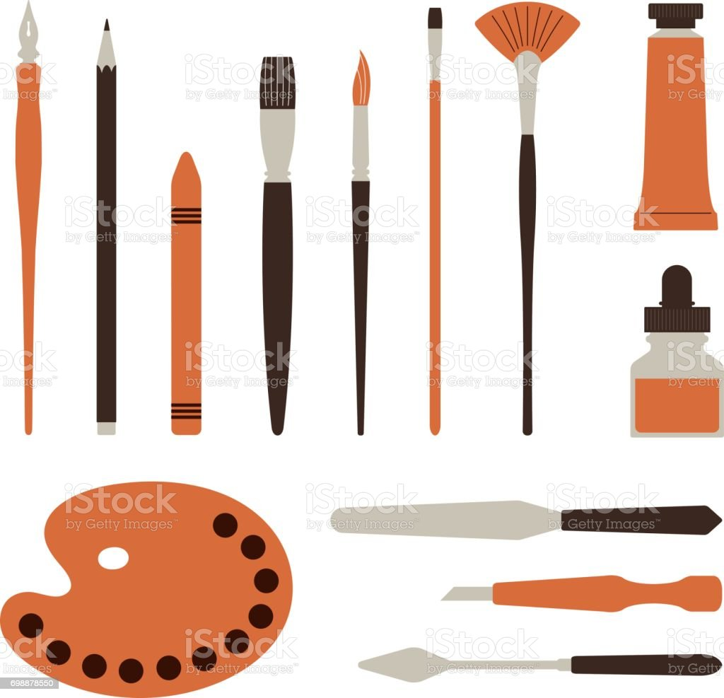 Artist tools, palette, paints and brush - Illustration vector art illustration