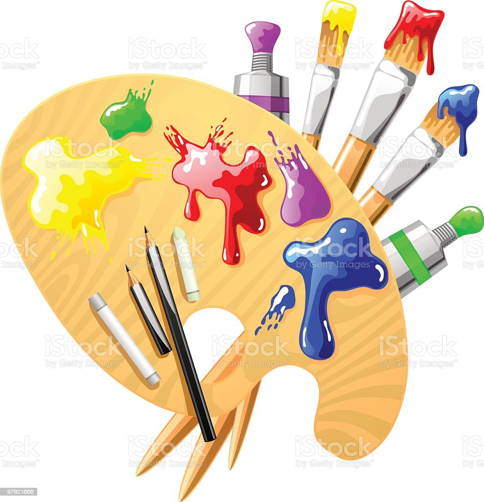 artist tools stock vector art more images of art 97921666 istock rh istockphoto com Paint Brush Clip Art Artist Clip Art Tools for Drawing