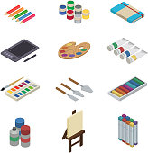 Artist tools vector watercolor with paintbrushes palette and color paints on canvas for artwork in art studio illustration artistic painting isometric set isolated on white background.