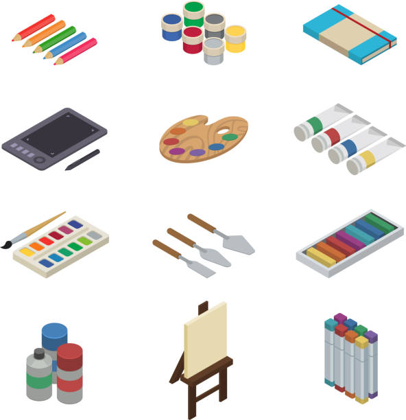 Artist tools vector watercolor with paintbrushes palette and color paints on canvas for artwork in art studio illustration artistic painting isometric set isolated on white background vector art illustration