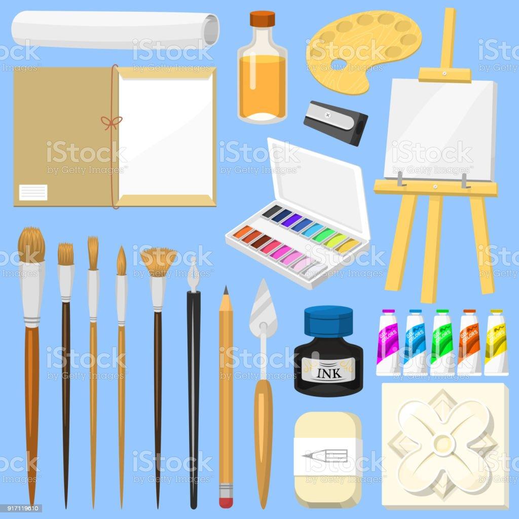 outils de lartiste vector aquarelle pinceaux palette et la couleur des peintures sur toile. Black Bedroom Furniture Sets. Home Design Ideas