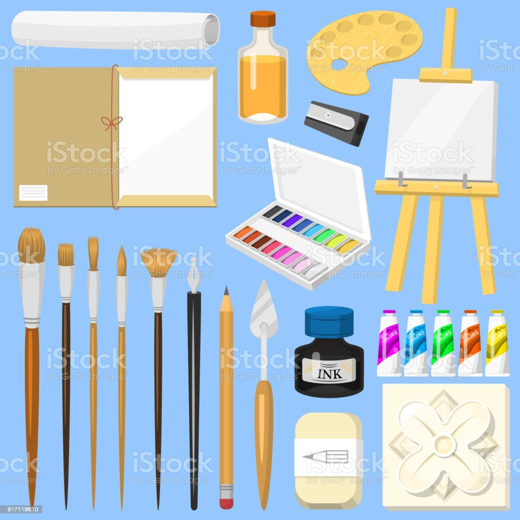 Artist tools vector watercolor with paintbrushes palette and color paints on canvas for artwork in art studio illustration artistic painting set isolated on background vector art illustration