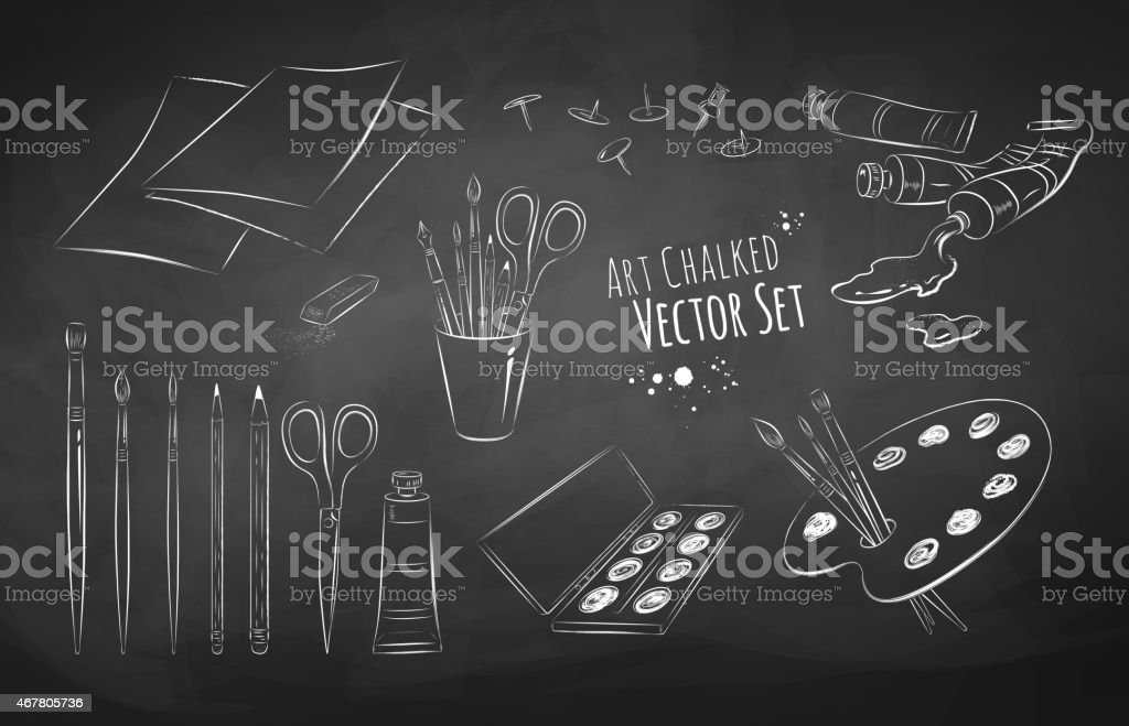 Artist vector set. vector art illustration