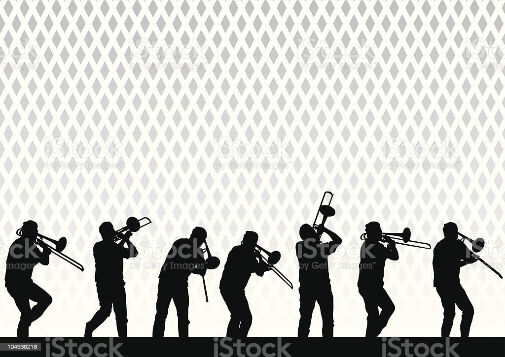Artist with a trombone vector art illustration