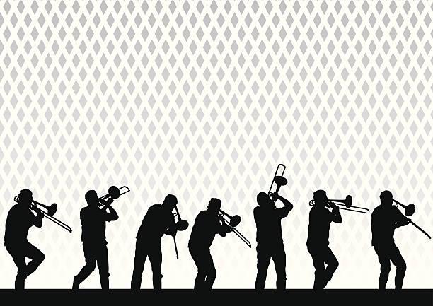 artysta z puzon - jazz stock illustrations