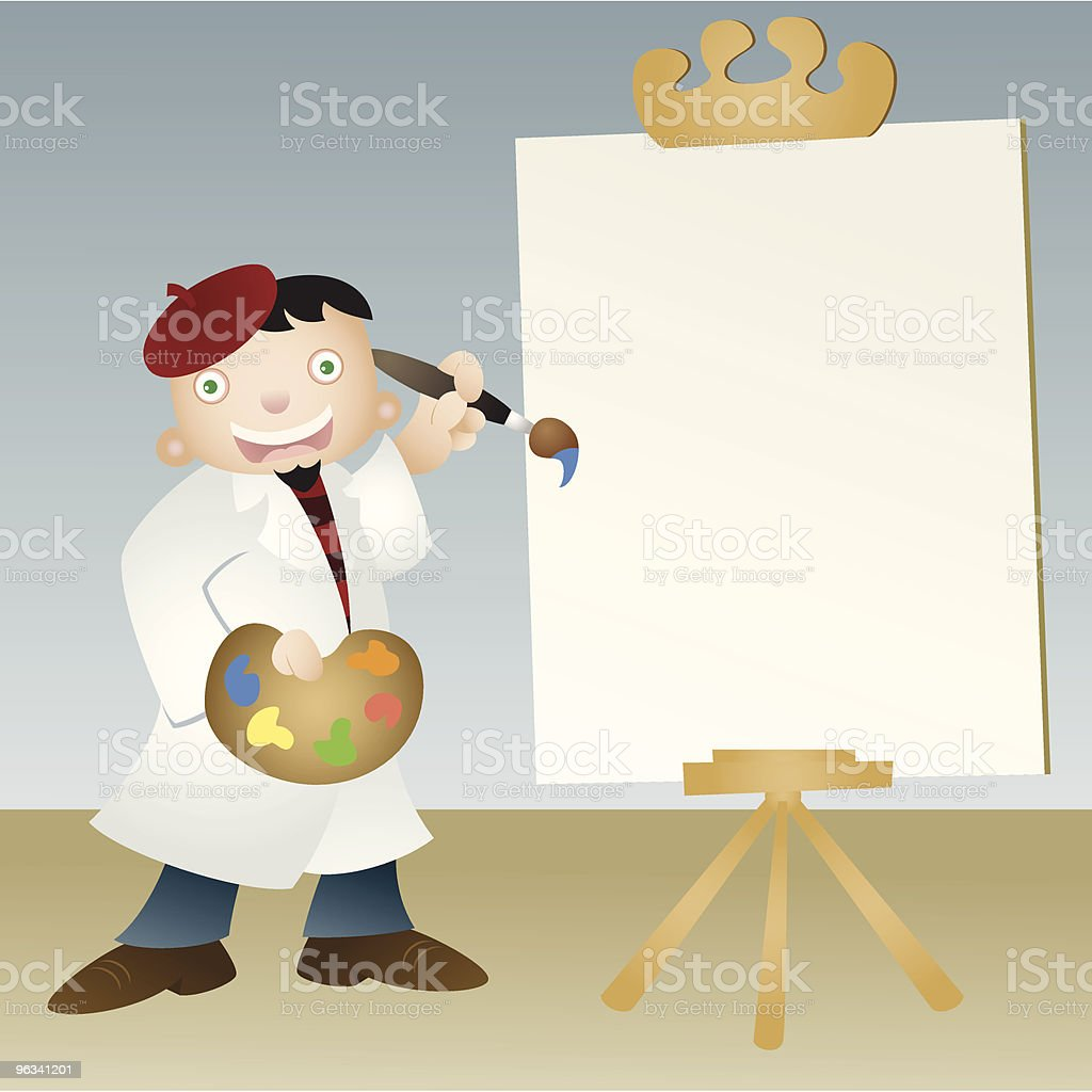 Artist with Blank Canvas royalty-free stock vector art