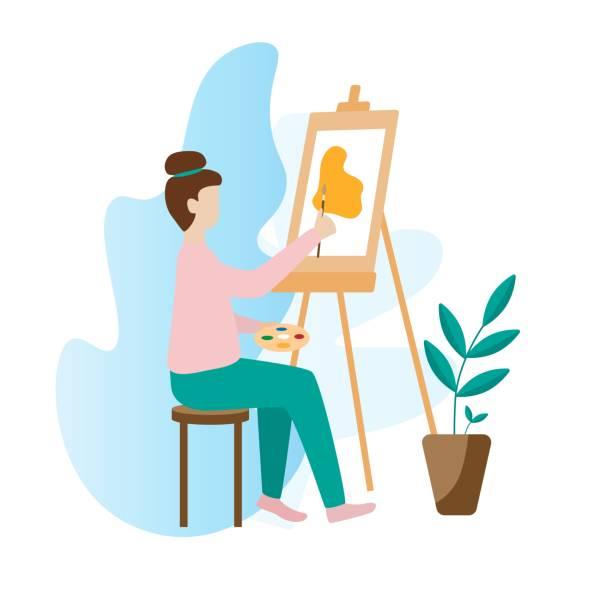 illustrazioni stock, clip art, cartoni animati e icone di tendenza di artist woman painting with palette, brush and easel - quadro