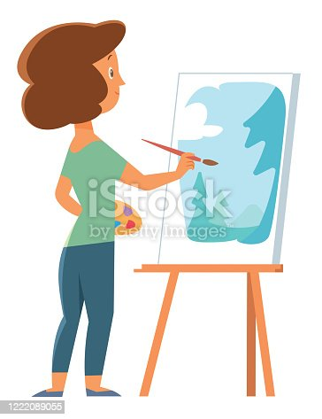 istock Artist woman painting with palette, brush and easel 1222089055