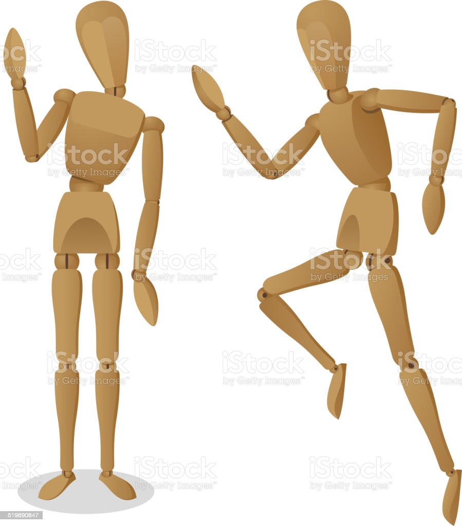 Artist Wooden Mannequin Figurine vector art illustration
