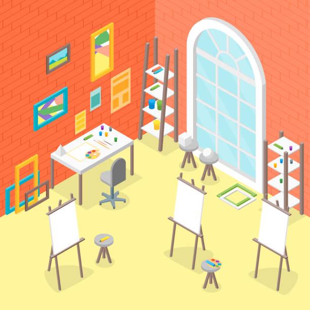 künstler am arbeitsplatz einrichtung mit möbeln isometrischen ansicht. vektor - hausfarbpaletten stock-grafiken, -clipart, -cartoons und -symbole