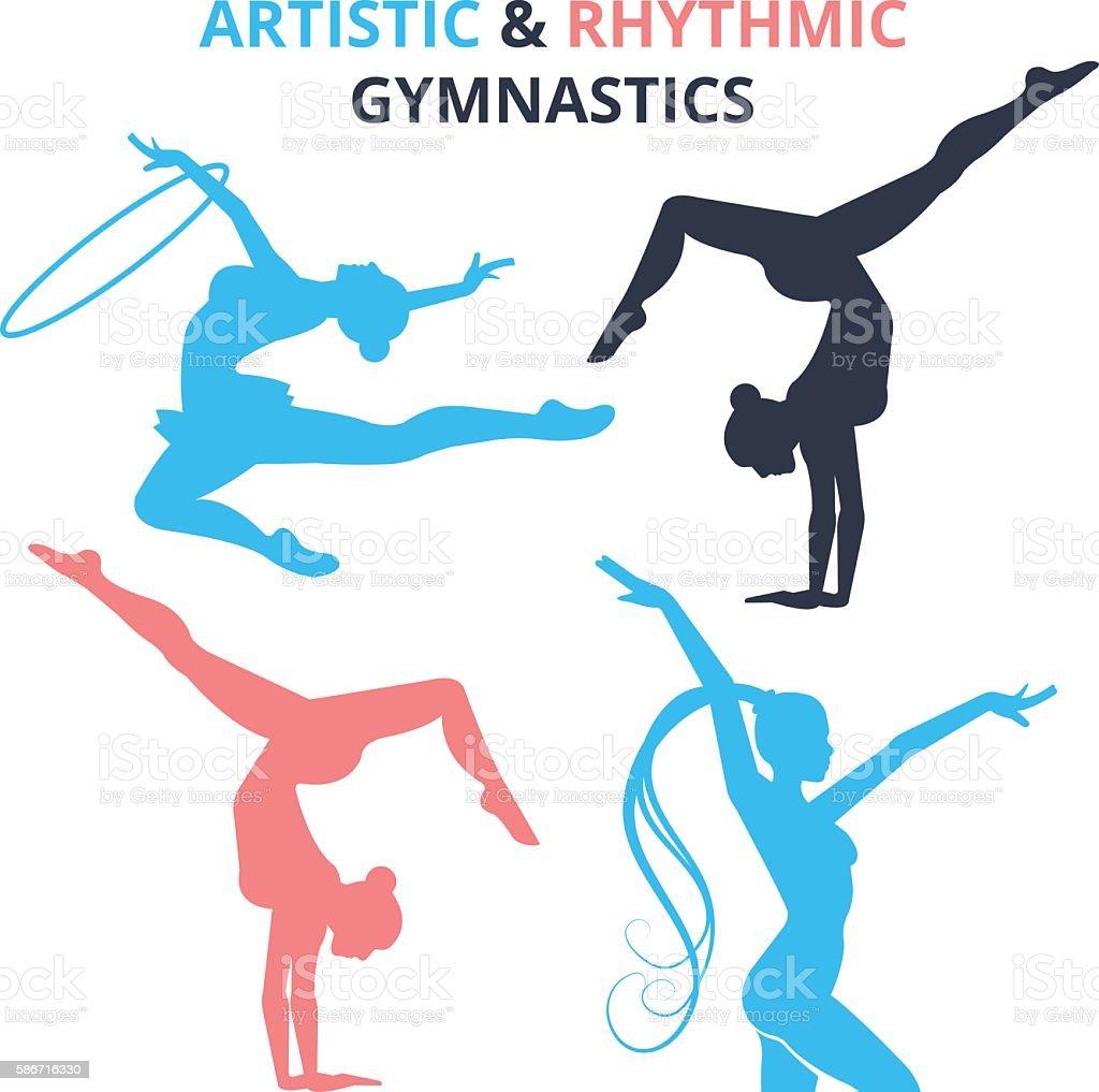 Artistic and rhythmic gymnastics women silhouettes set. Vector illustration royalty-free artistic and rhythmic gymnastics women silhouettes set vector illustration stock illustration - download image now