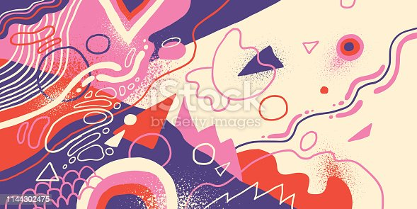 Artistic background in abstract style, made of various fluid hand drawn shapes in color. Vector illustration.