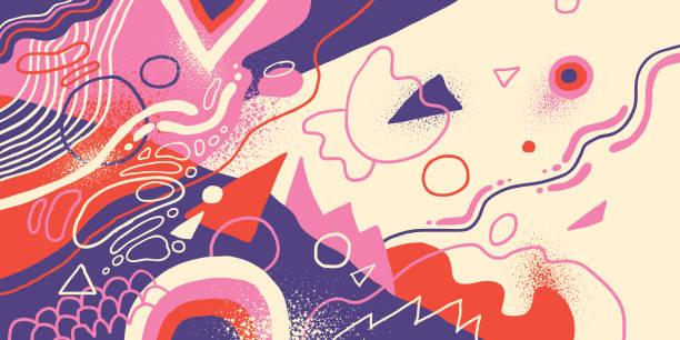 Artistic background in abstract style. Artistic background in abstract style, made of various fluid hand drawn shapes in color. Vector illustration. youth culture stock illustrations