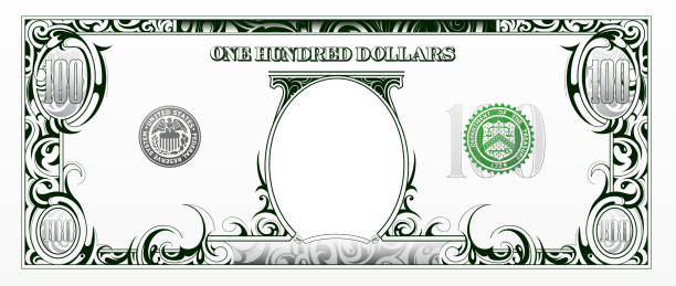 Artistic bank note based on 100 dollars bill Cartoon money for games and decorations. Empty portrait area for your images american one hundred dollar bill stock illustrations