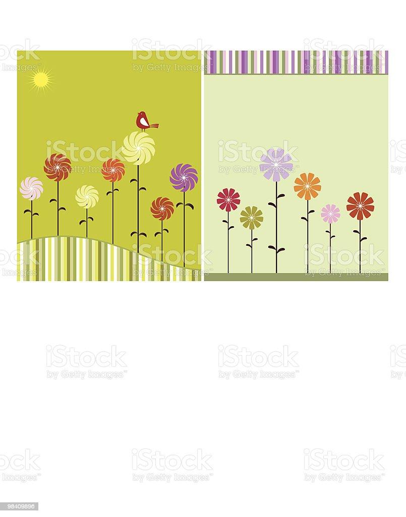 Artistico uccelli, fiori artistico uccelli fiori - immagini vettoriali stock e altre immagini di albero royalty-free
