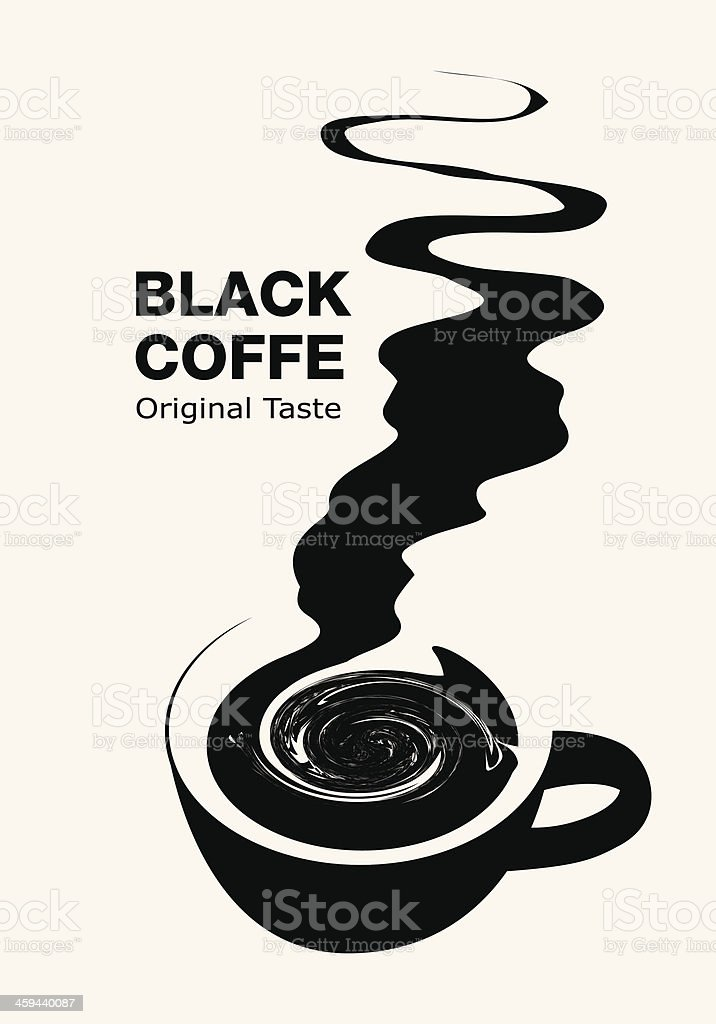 Artistic black and white graphic for black coffee vector art illustration