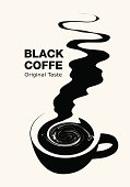 Artistic black and white graphic for black coffee