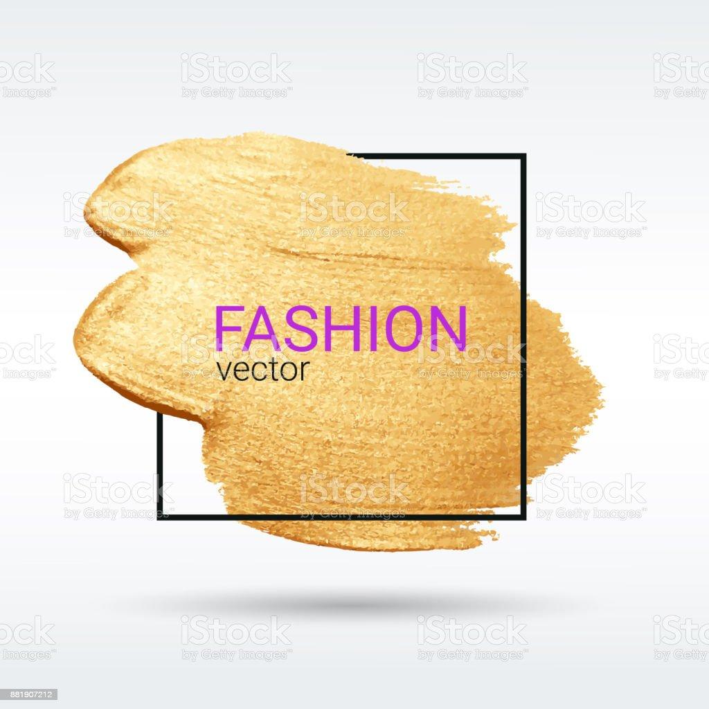Artistic brush stroke. Gold grunge texture. Light background. Vector abstract. vector art illustration