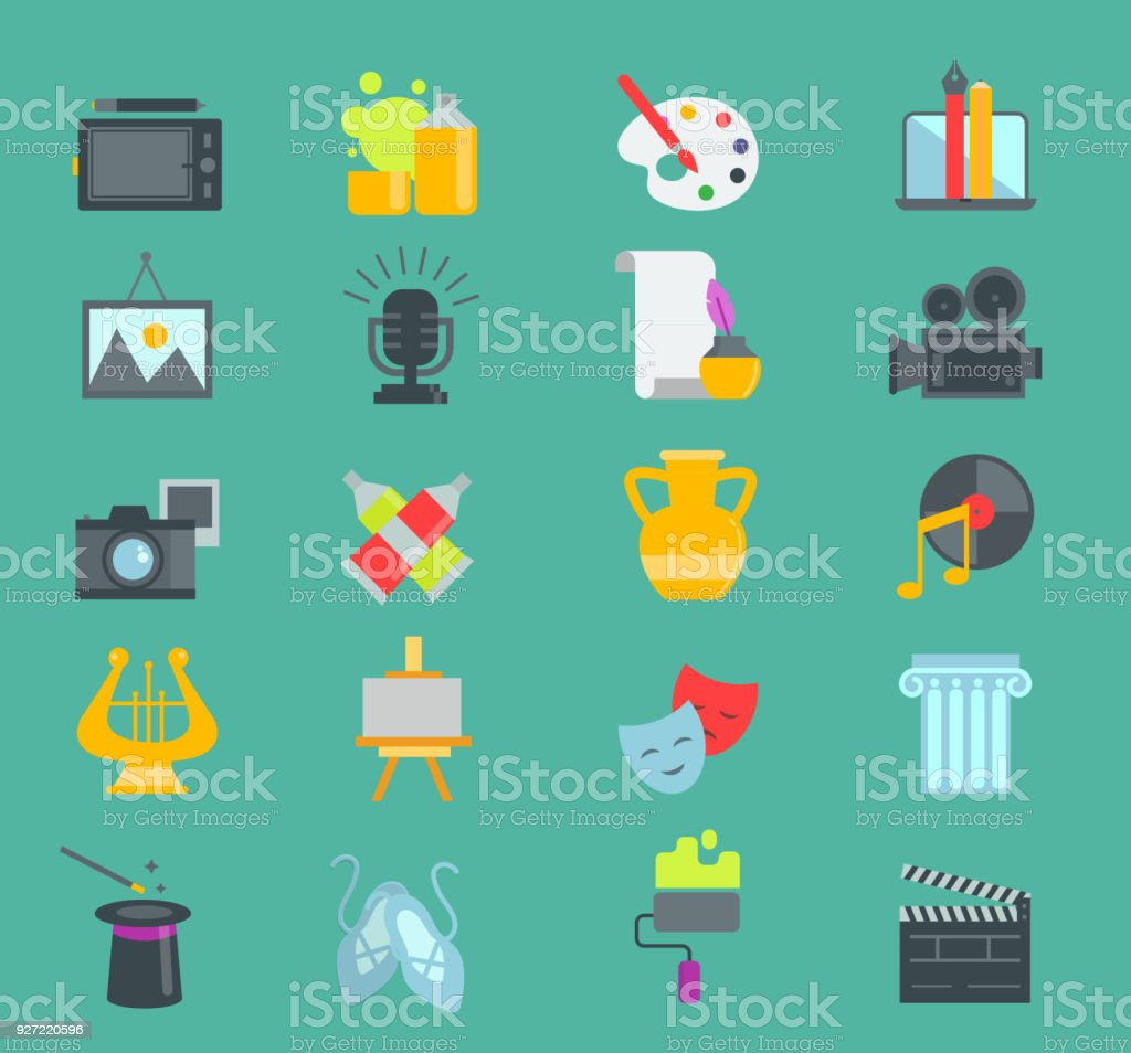 Artistic Creator Graphic Designer Icons Vector Set Flat Design