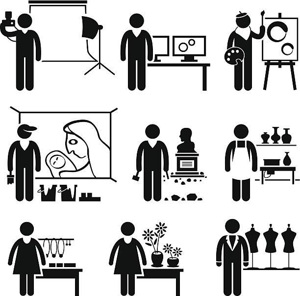 illustrazioni stock, clip art, cartoni animati e icone di tendenza di design artistico occupazioni opportunità di lavoro - uomo artigiano gioielli