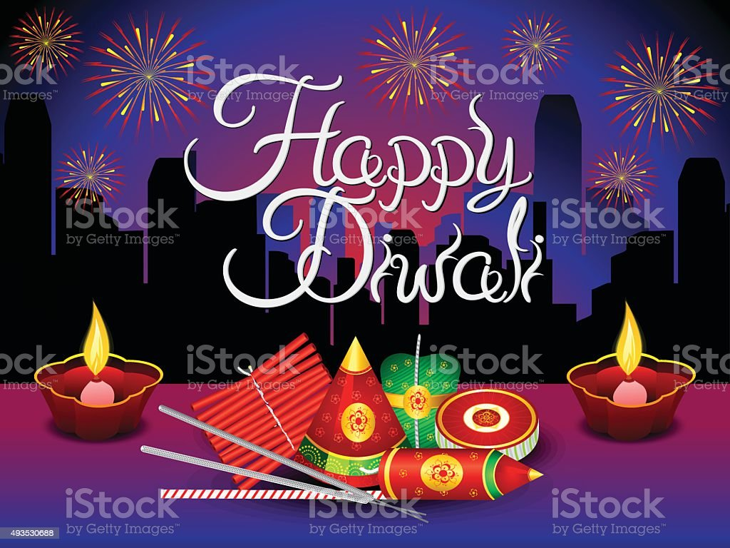 Artistic Detailed Diwali Background With Crackers Royalty Free Stock