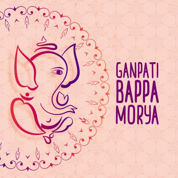 künstlerische festival gruß von ganesh chaturthi - ganesh stock-grafiken, -clipart, -cartoons und -symbole