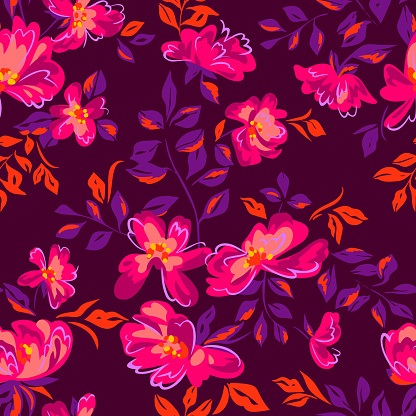 Artistic floral background. Seamless pattern made of abstract peony flowers with blurred petals texture. Summer nature ornament. Flowers in bloom.