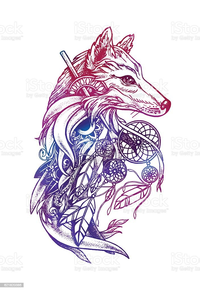 Artistic fox with Dreamcatcher. Graphic arts – Vektorgrafik