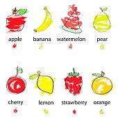 artistic fruits vector set