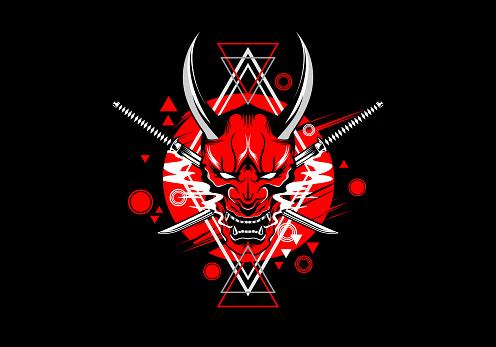 artistic geometric japanese hannya demon oni mask with katana sword vector illustration