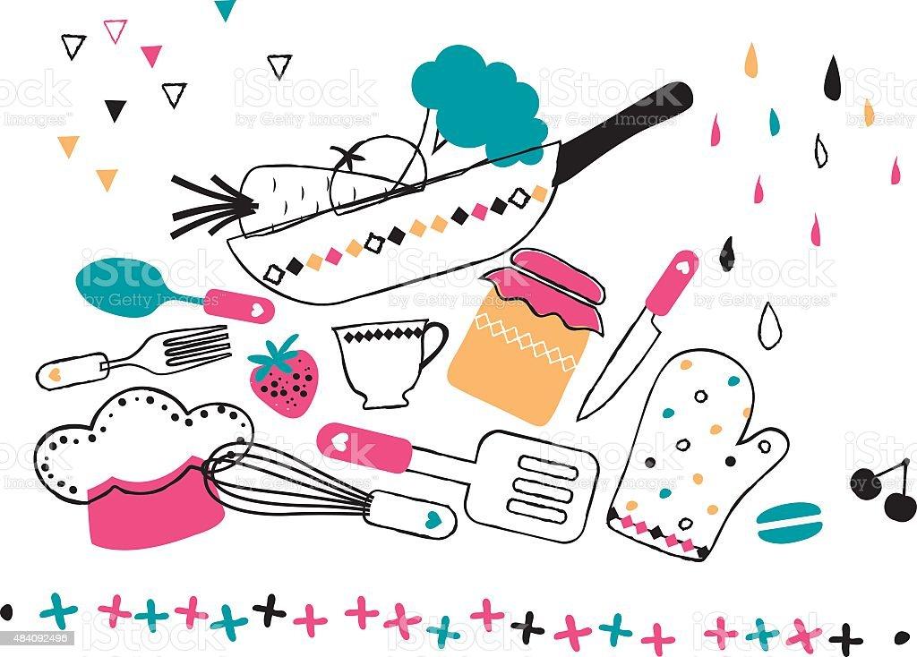 artistic hand drawn kitchen illustration vector art illustration