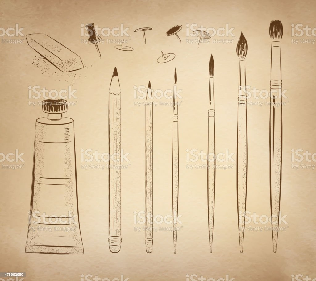Artistic hand drawn vector set. vector art illustration