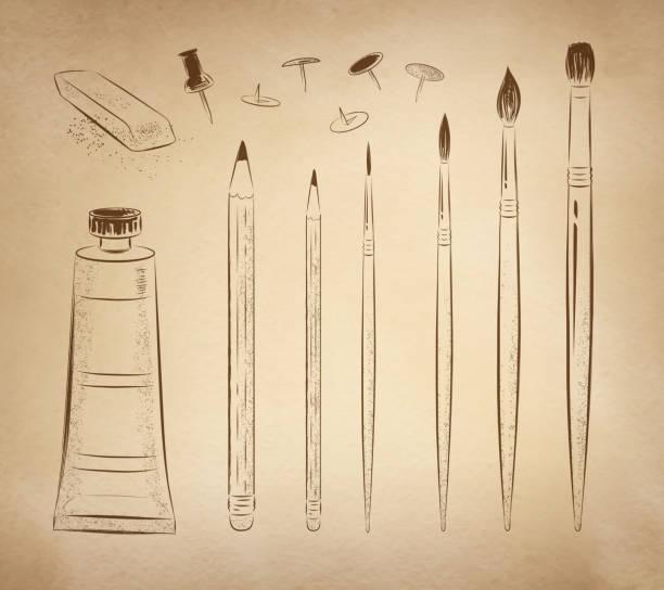 Artísticos conjunto de vectores dibujados a mano. - ilustración de arte vectorial