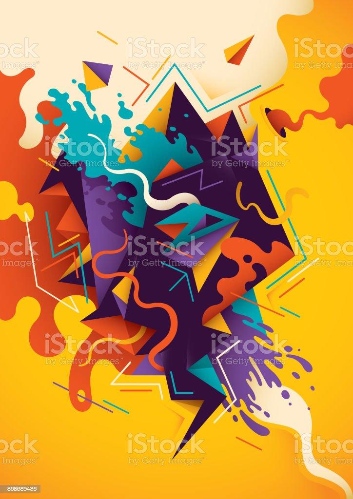 芸術的なイラストで抽象的な組成ます イラストレーションのベクター